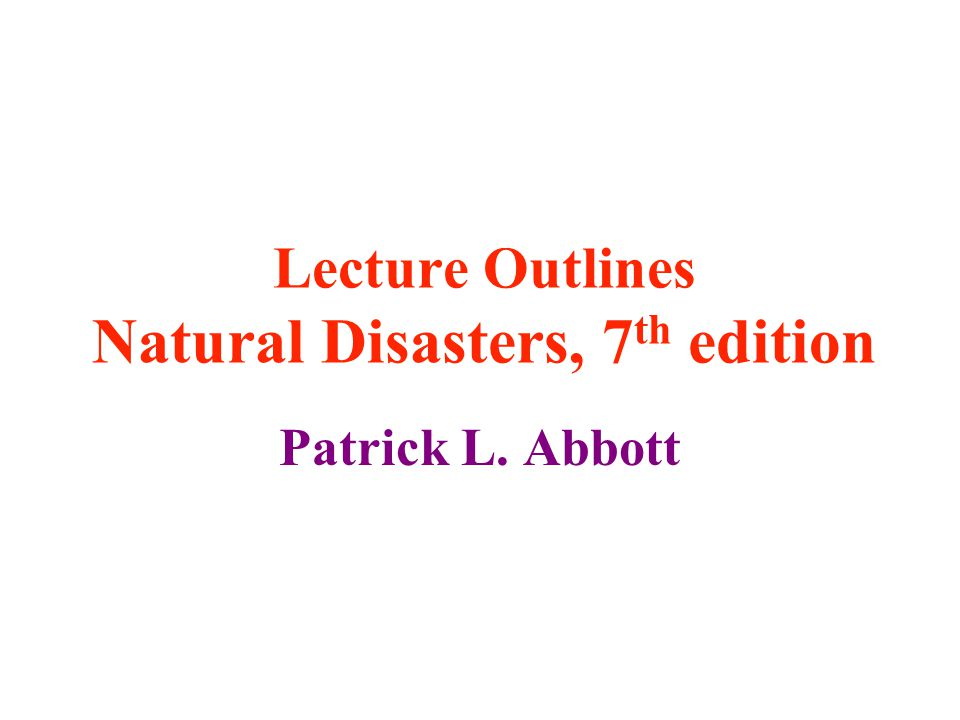 Natural Disasters Th Edition