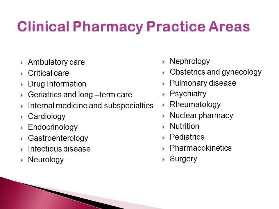 Clinical Pharmacy Practice Areas