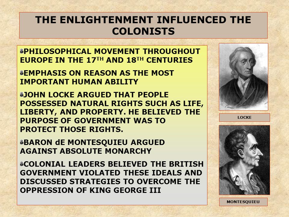 enlightenment influences on american ideals essay Jefferson and other members of the founding generation were deeply influenced  by the 18th-century european intellectual movement known as the.