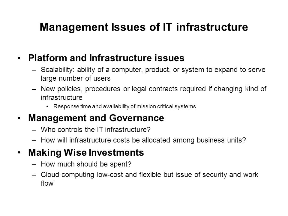 Management Issues of IT infrastructure