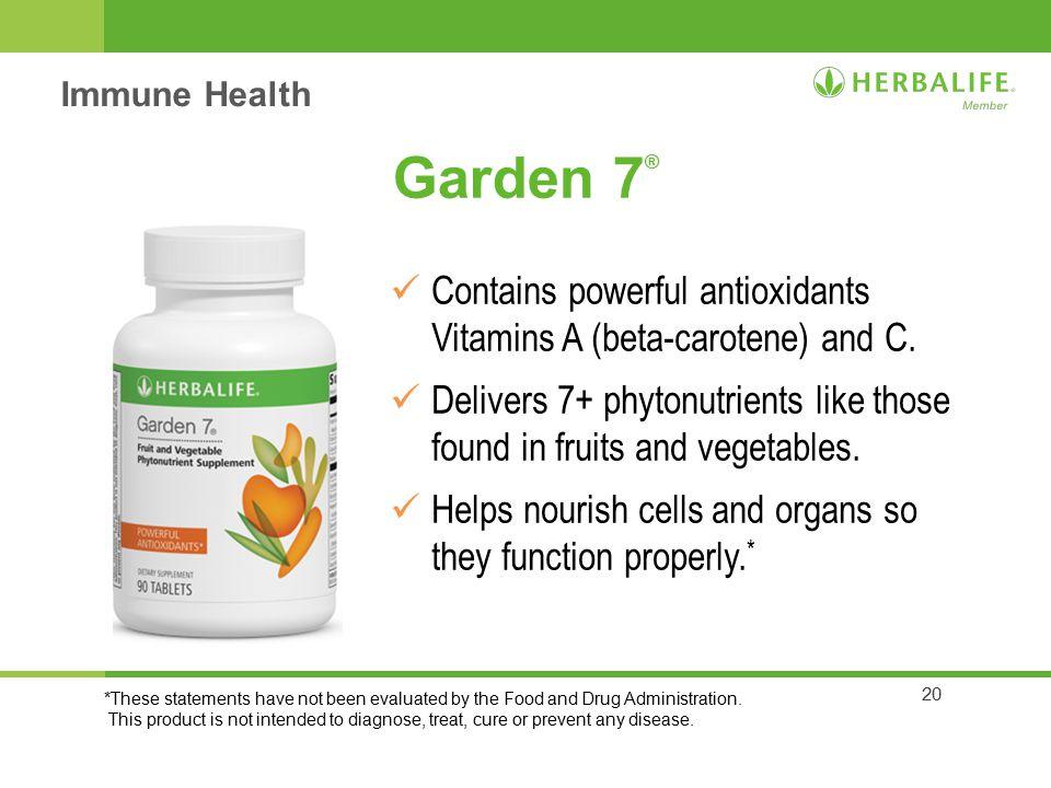 Immune Health Garden 7® Contains Powerful Antioxidants Vitamins A  (beta Carotene) And
