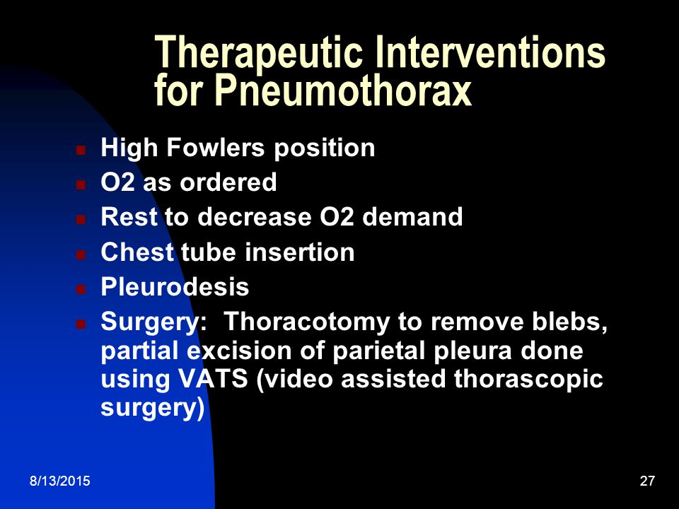 Therapeutic Interventions for Pneumothorax
