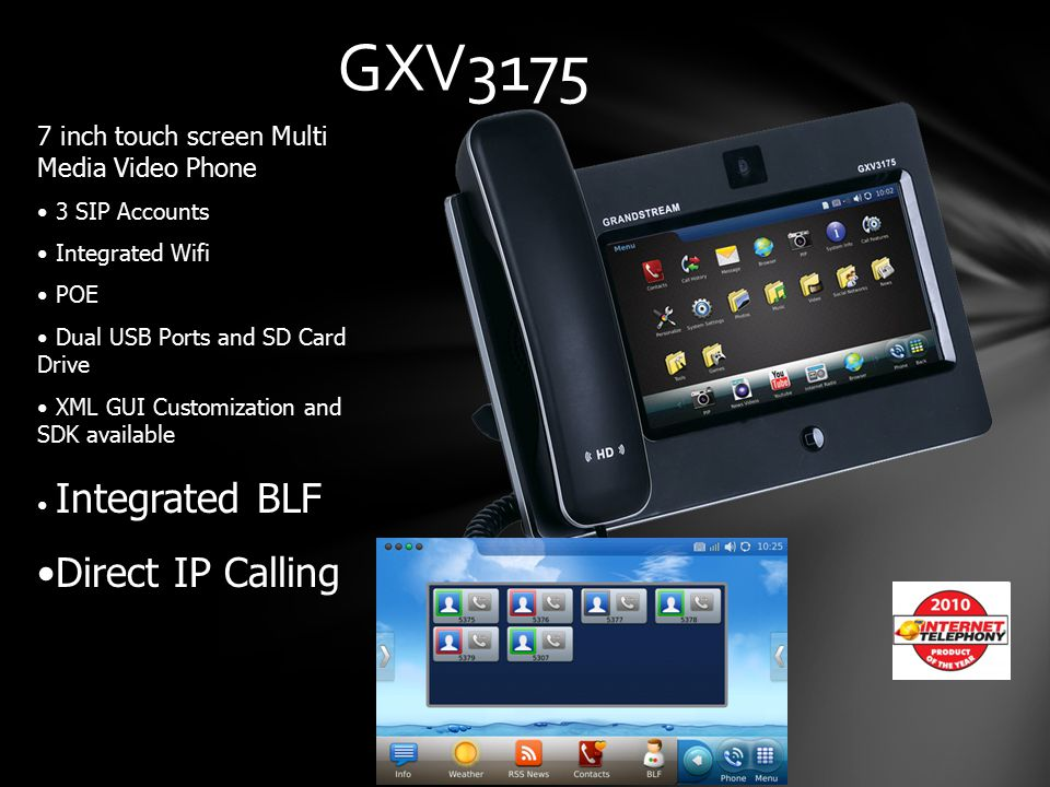 GXV3175 Direct IP Calling 7 inch touch screen Multi Media Video Phone