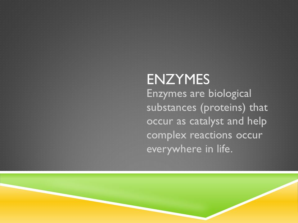 ENZYMES Enzymes are biological substances (proteins) that occur as catalyst and help complex reactions occur everywhere in life.