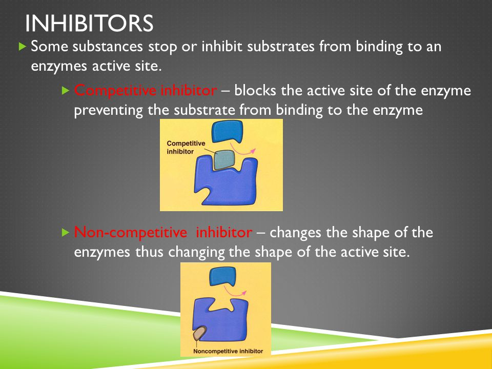Inhibitors Some substances stop or inhibit substrates from binding to an enzymes active site.