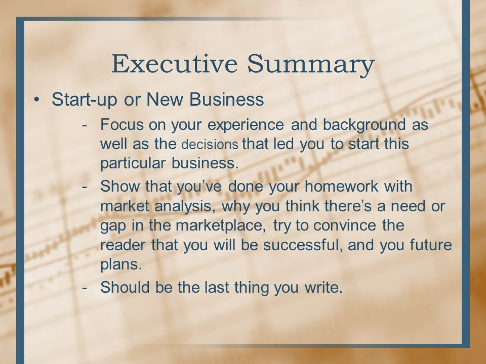 the executive summary in a business plan should come up