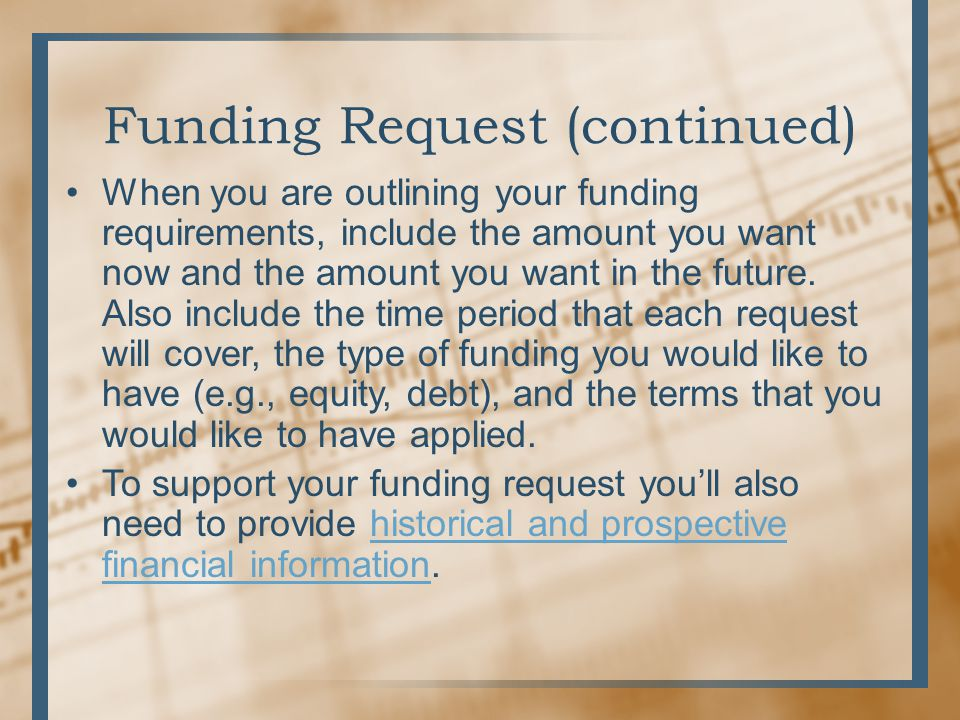 how to write a funding request