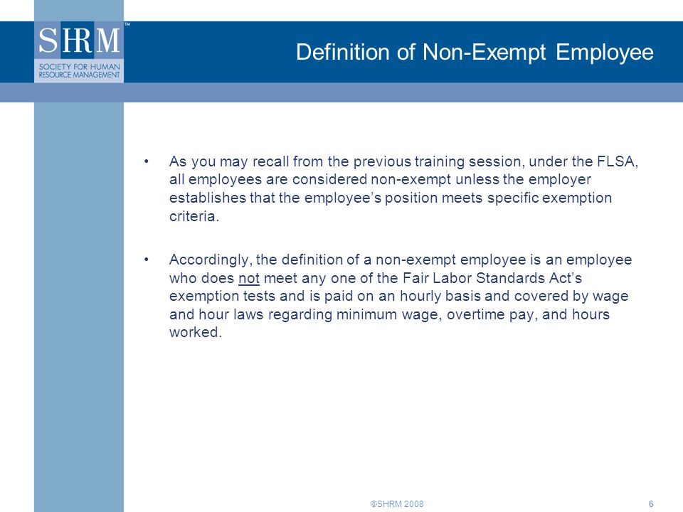 definition of non exempt employee