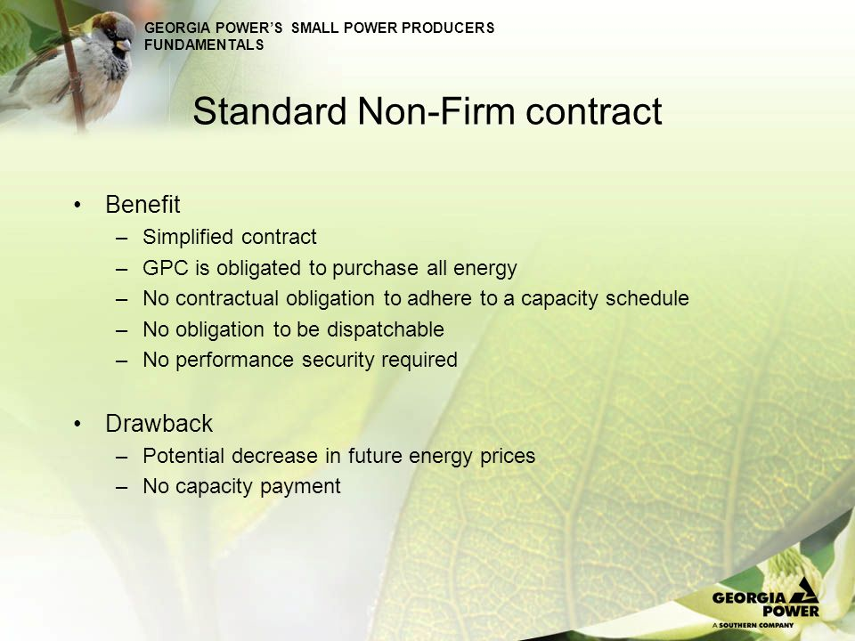 Standard Non-Firm contract