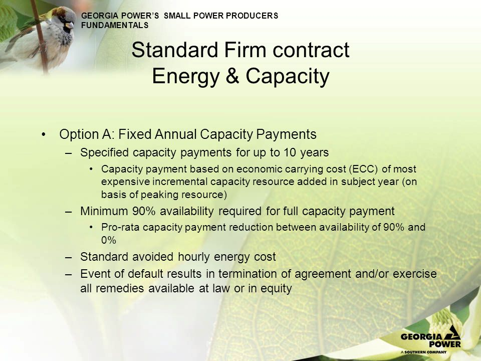 Standard Firm contract Energy & Capacity