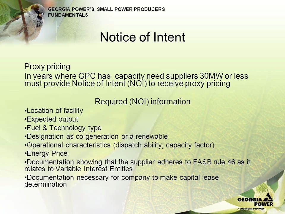 Required (NOI) information