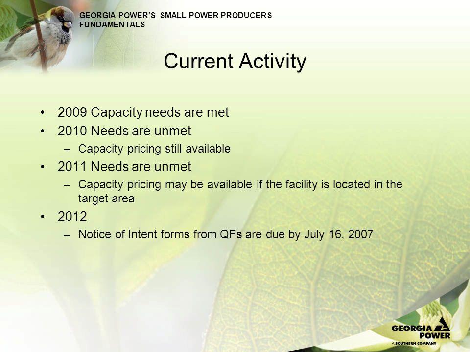 Current Activity 2009 Capacity needs are met 2010 Needs are unmet