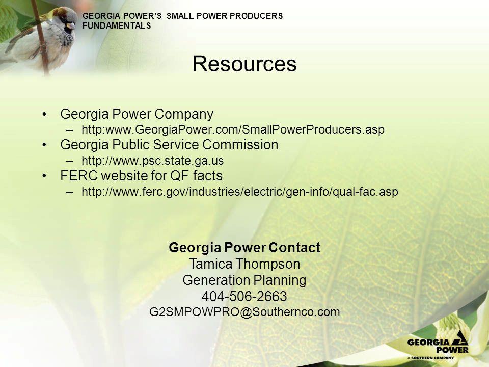 Resources Georgia Power Company Georgia Public Service Commission