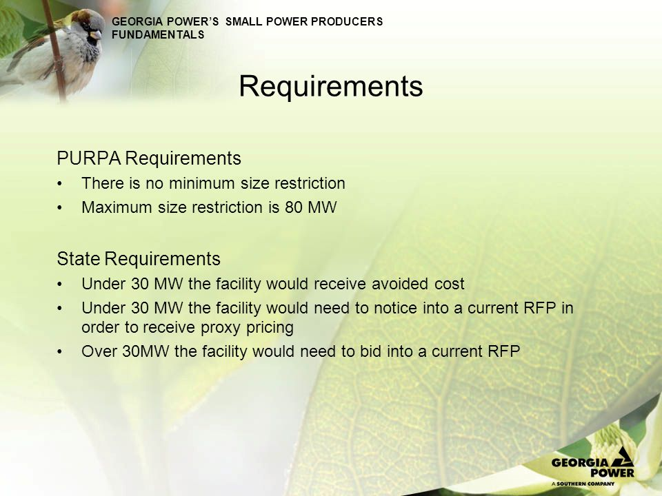 Requirements PURPA Requirements State Requirements