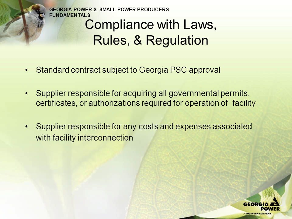 Compliance with Laws, Rules, & Regulation