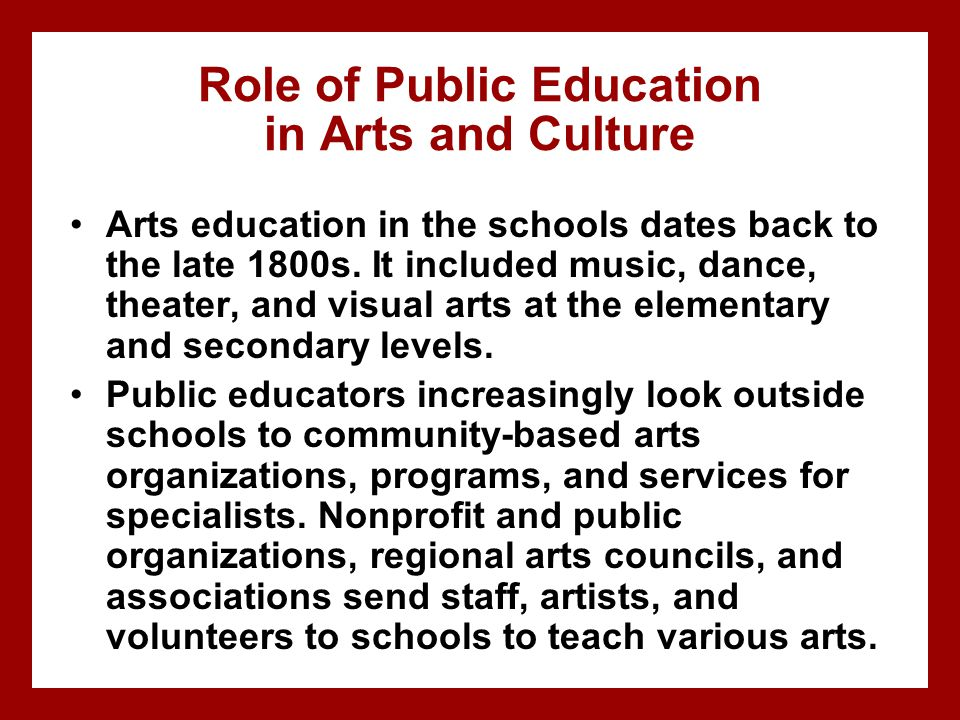 the role of music and visual arts in the development of culture We've created short accessible summaries of academic research that demonstrate the impacts of arts and culture, as well as highlighting a range of insights to help inform future planning.