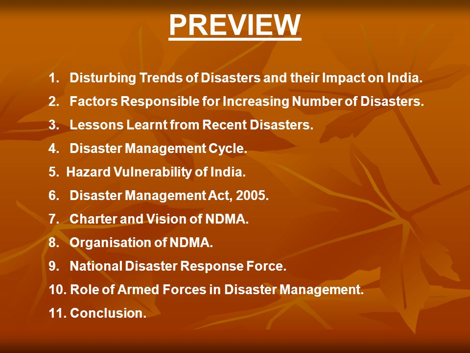 PREVIEW Disturbing Trends of Disasters and their Impact on India.