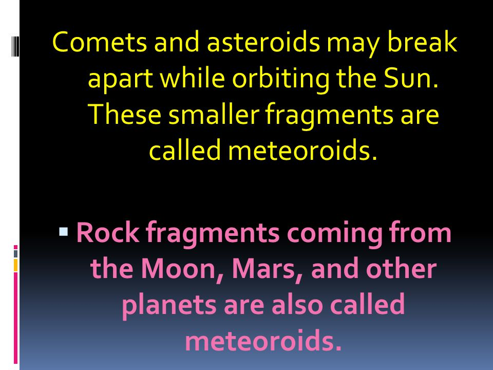 Comets and asteroids may break apart while orbiting the Sun