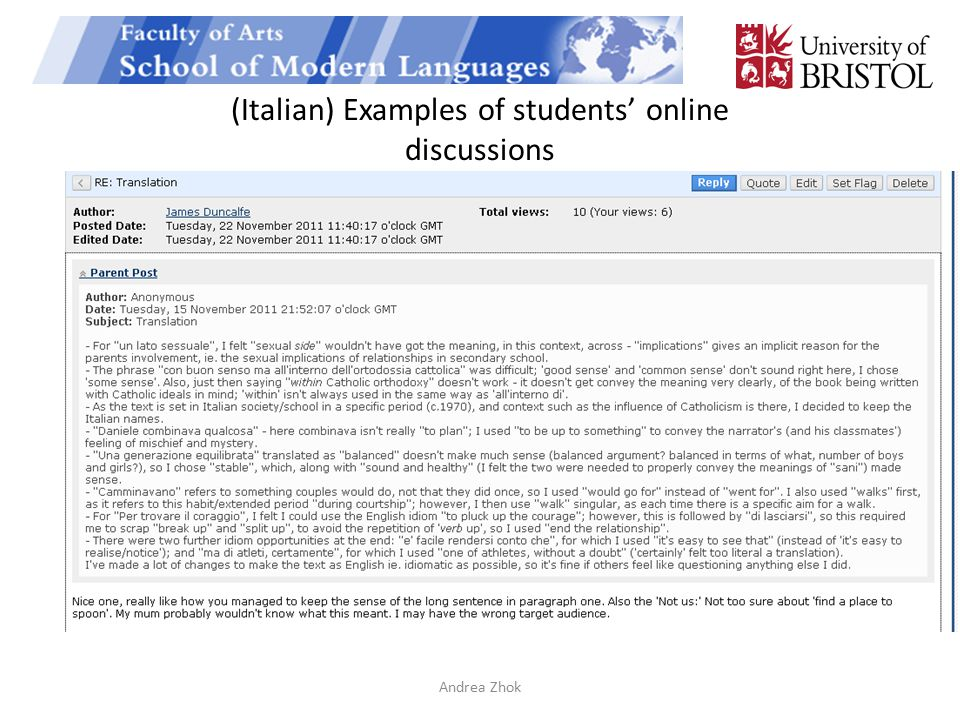 (Italian) Examples of students' online discussions