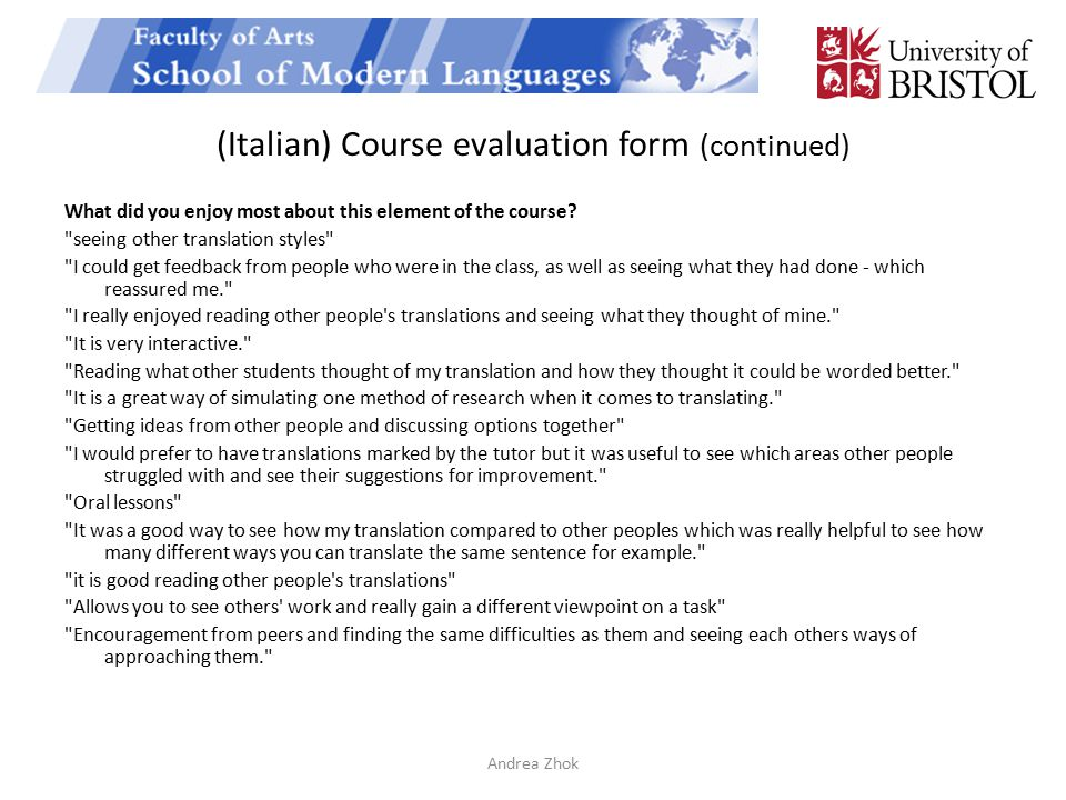 (Italian) Course evaluation form (continued)