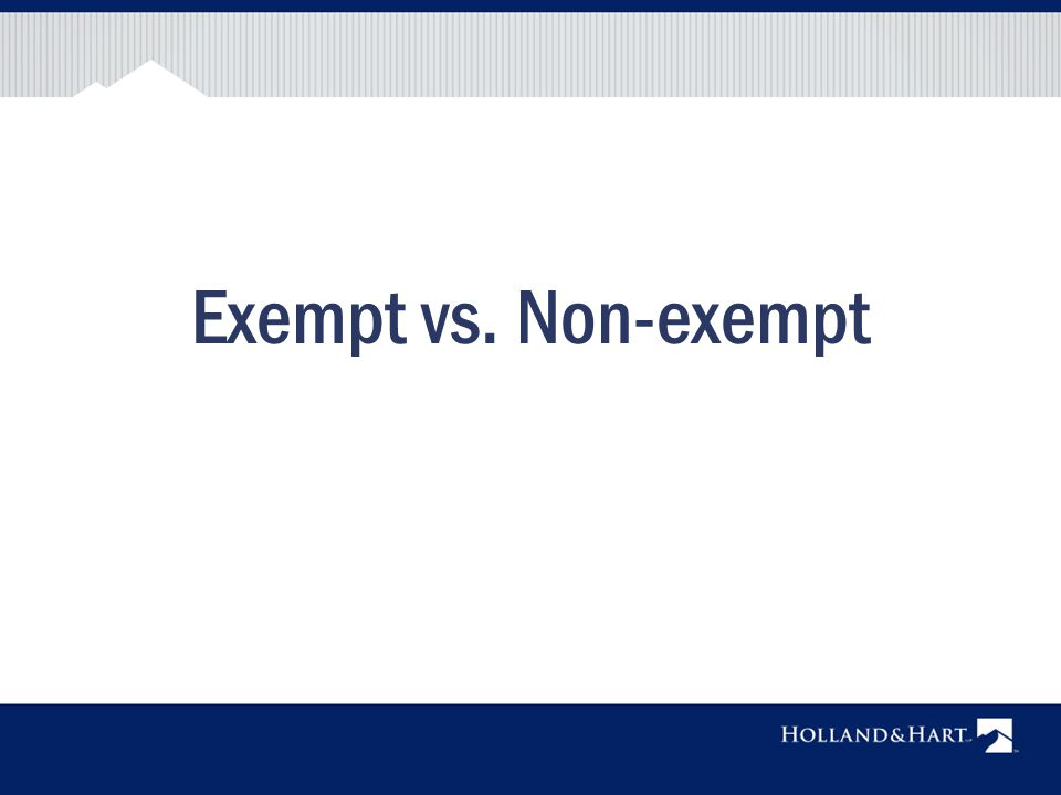 Exempt vs non exempt