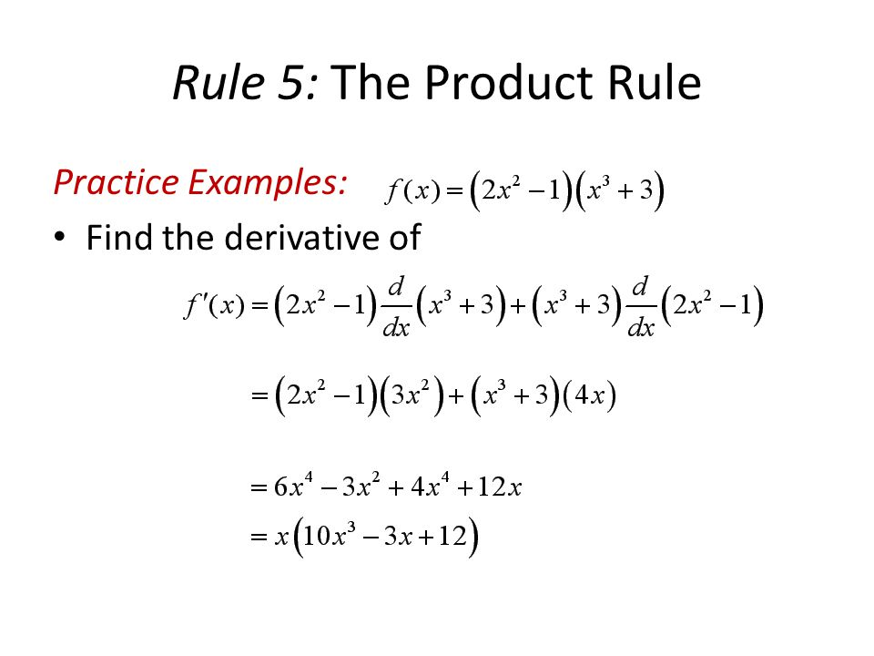 Product rule examples