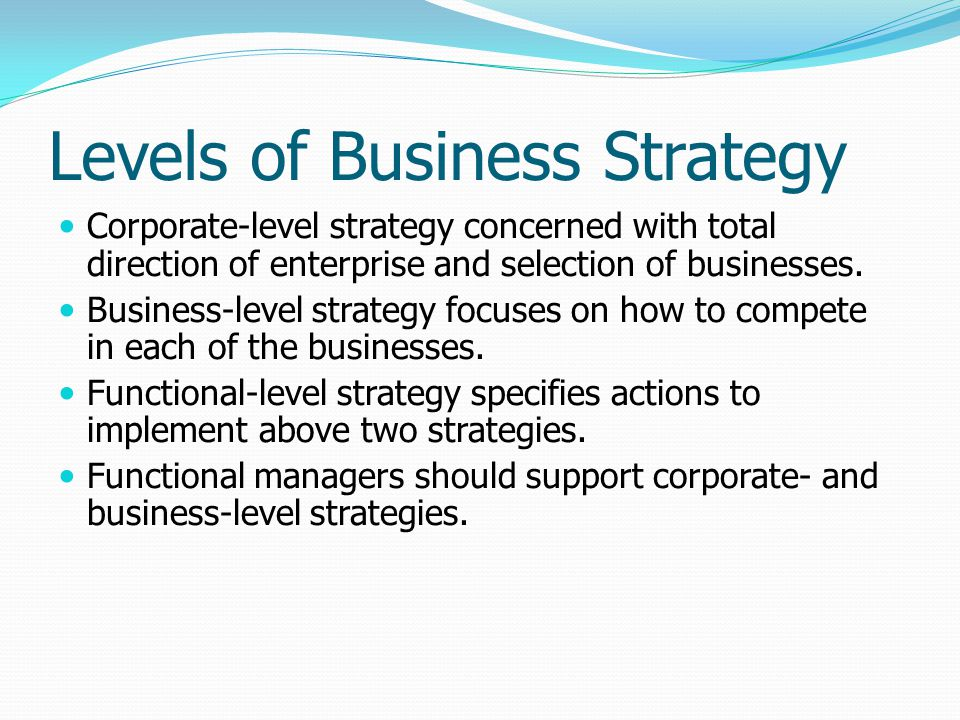 Levels of Business Strategy