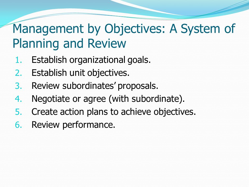 Management by Objectives: A System of Planning and Review