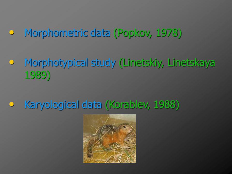 Morphometric data (Popkov, 1978)