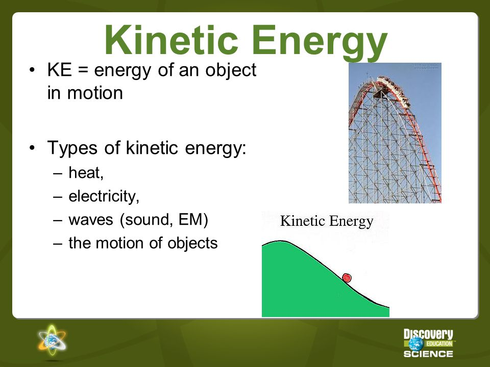 a review of kinetic and potential energy Kinetic energy is described by the formula by the product of mass and square of velocity and than this product is divided by two the formula of the kinetic energy is given by ke=05v(mv) where in the equation m is the mass of the object which is possessing kinetic energy whereas v is the velocity of the object.