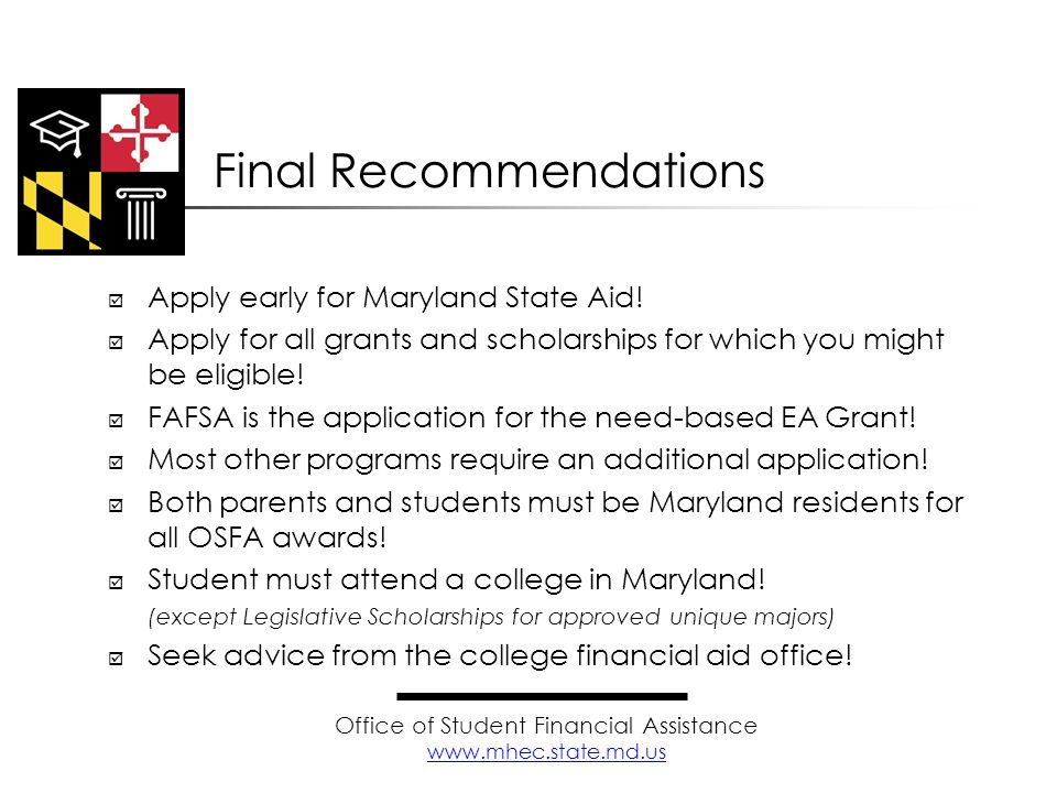 Office of Student Financial Assistance www.mhec.state.md.us