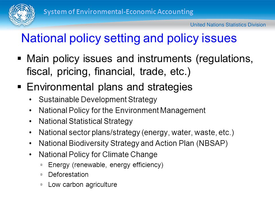 National policy setting and policy issues