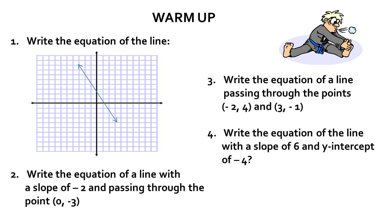 Warm Up Write The Equation Of The Line: Write The Equation Of A Line