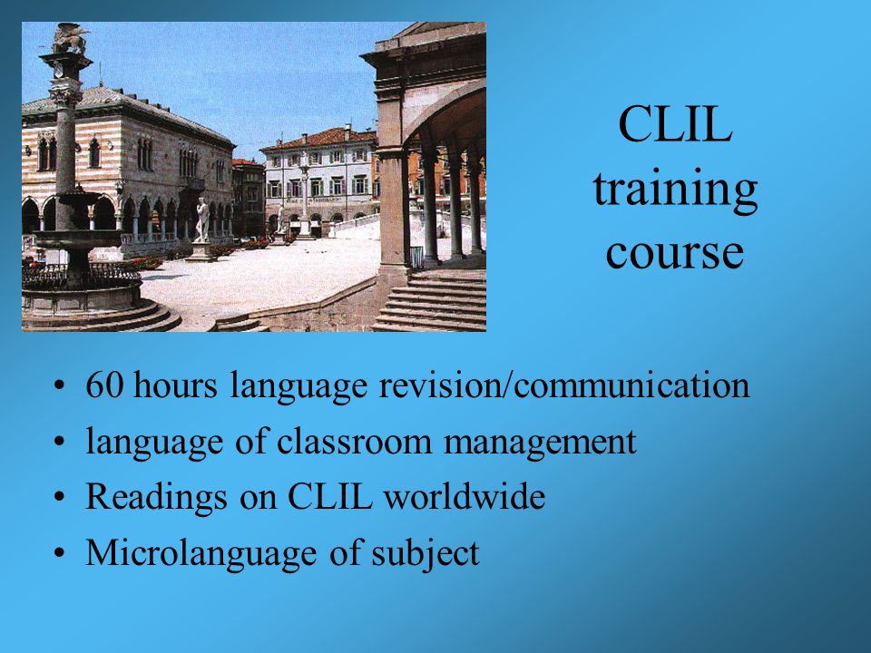 CLIL training course 60 hours language revision/communication