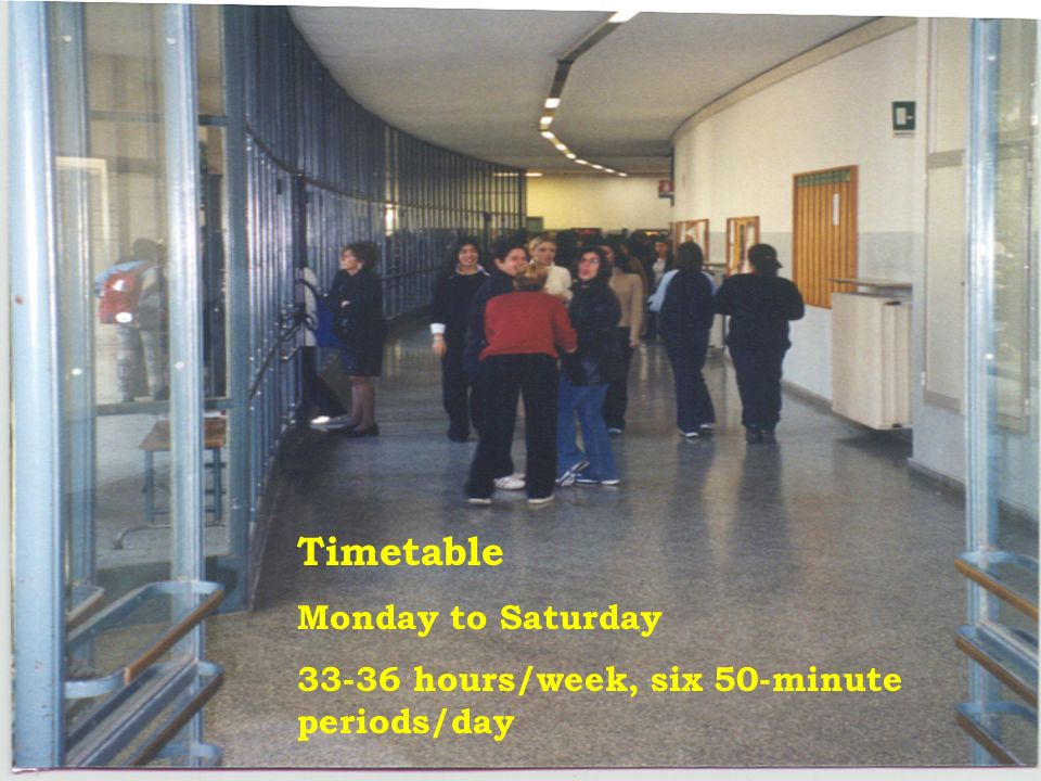 Timetable Monday to Saturday