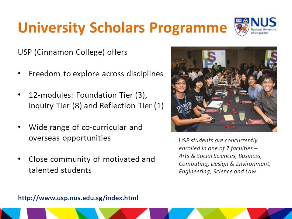 university scholars programme nus essay Sciences and technologieskuldip singh is an associate professor in nus and has teaching appointments both at the university scholars programme (usp) and the faculty.