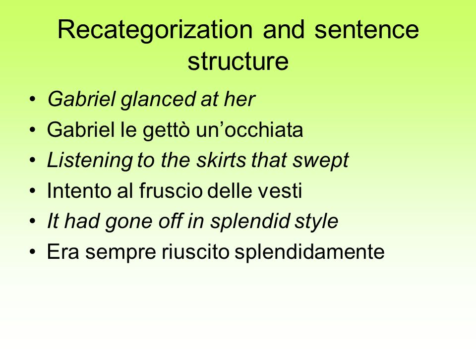 Recategorization and sentence structure