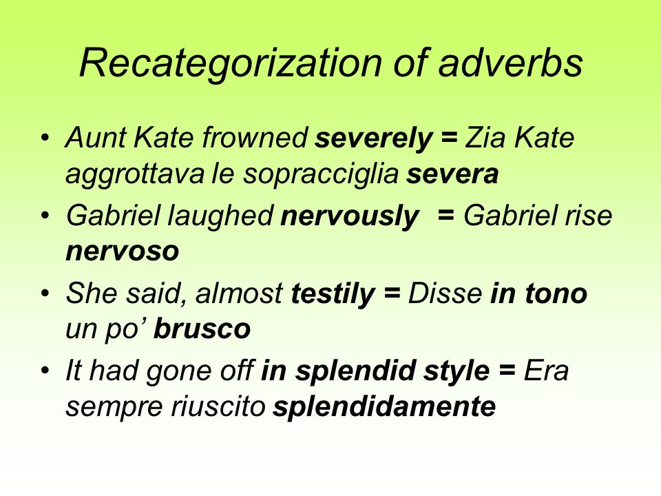Recategorization of adverbs