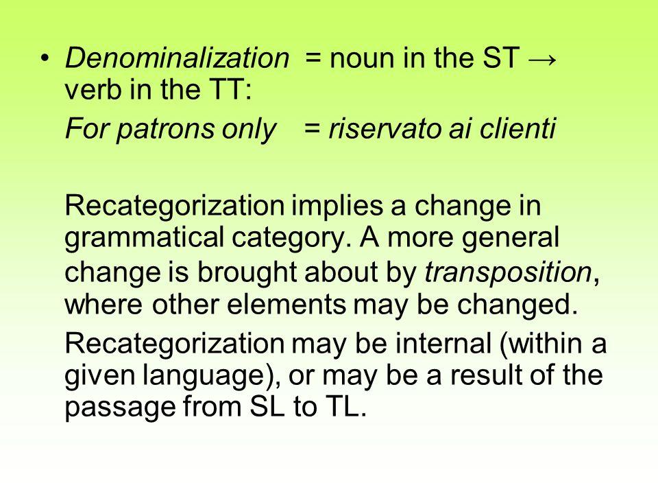 Denominalization = noun in the ST → verb in the TT: