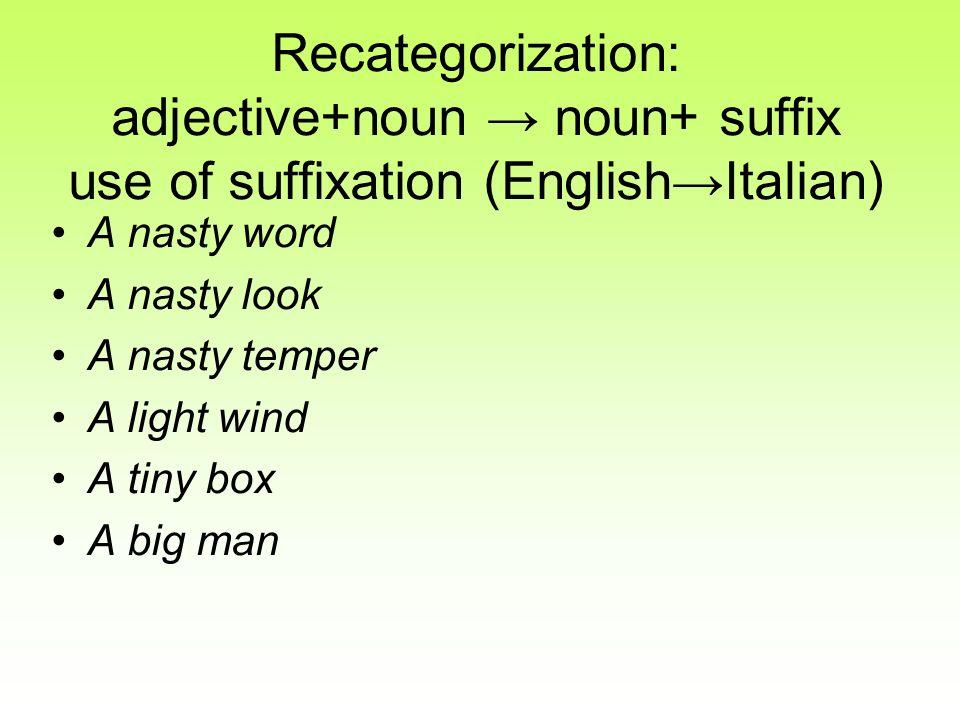Recategorization: adjective+noun → noun+ suffix use of suffixation (English→Italian)