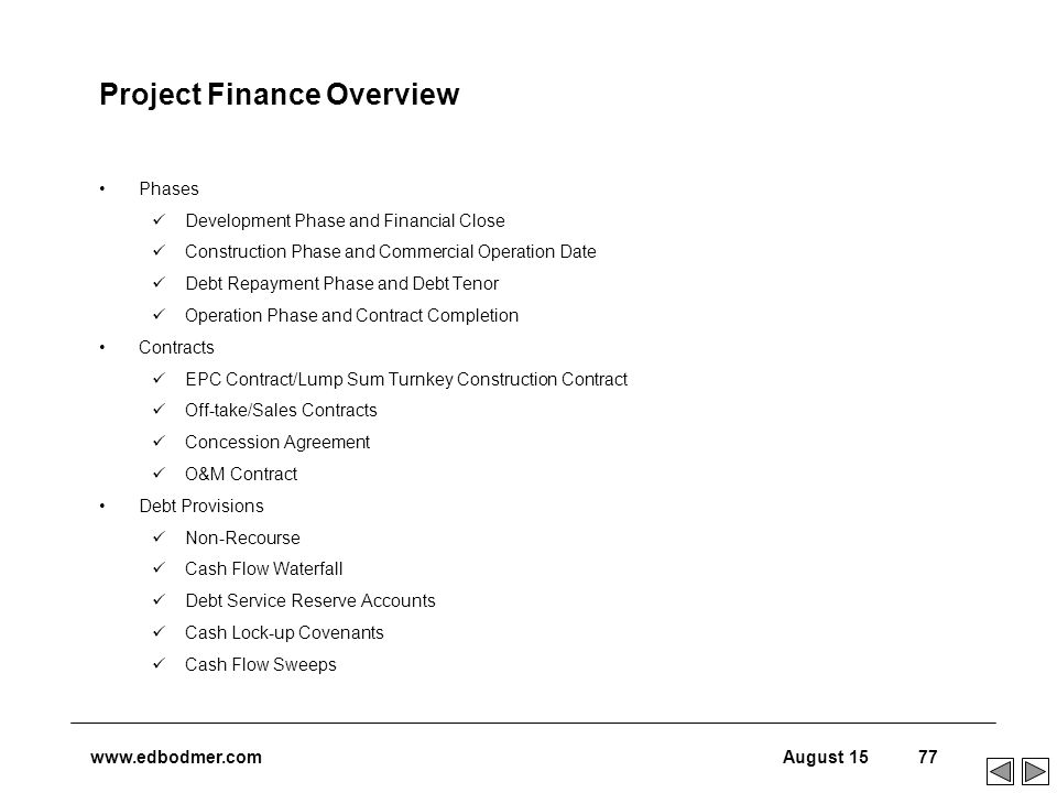 an overview of project finance and Professional online program in project finance from the new york institute of   an overview of project finance and public-private partnerships (ppps) with a.