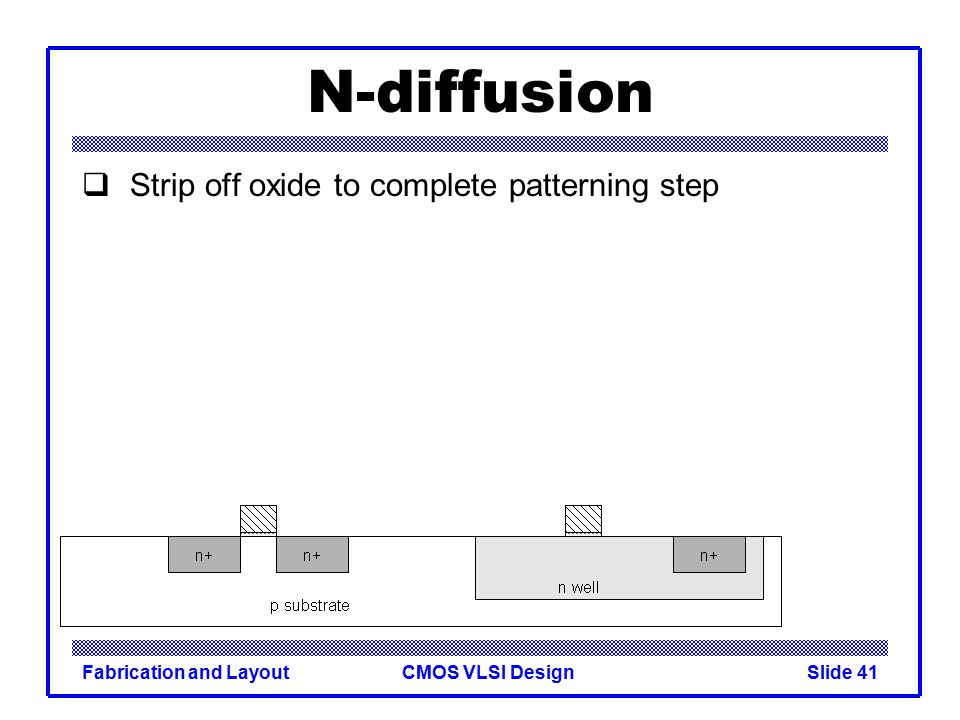 N-diffusion Strip off oxide to complete patterning step