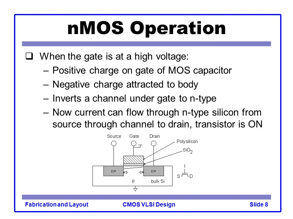 nMOS Operation When the gate is at a high voltage: