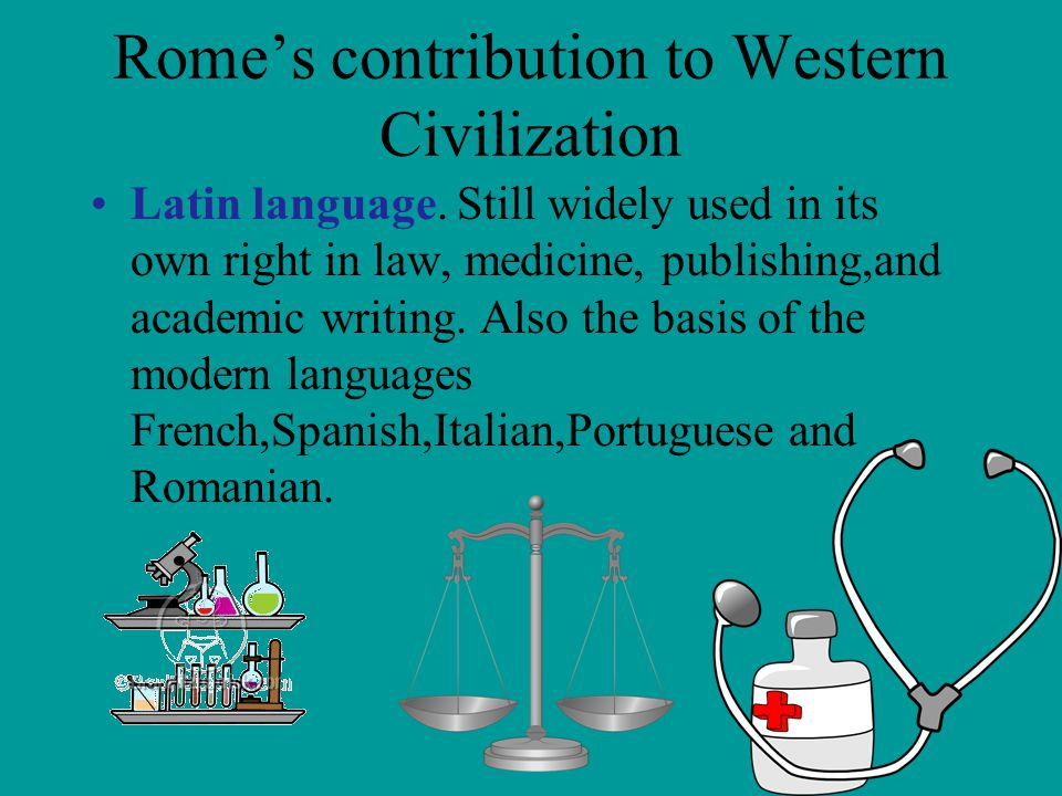 roman contributions to western civilization essay The legacy of the roman empire includes the set of cultural values, religious  beliefs, technological advancements, engineering and language this legacy  was passed on after the demise of the empire itself and continued to shape other  civilizations, a process which continues to this day  despite the decline of the  western roman empire, the latin language.