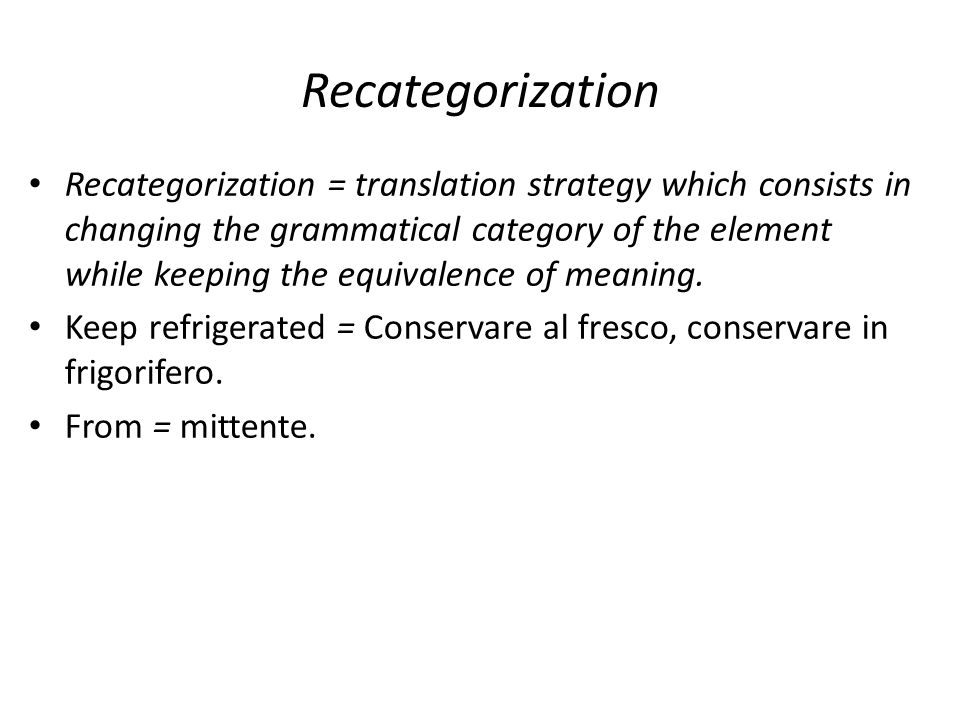 Recategorization