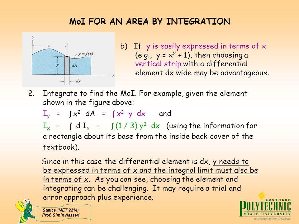 how to find area moment of inertia by integration