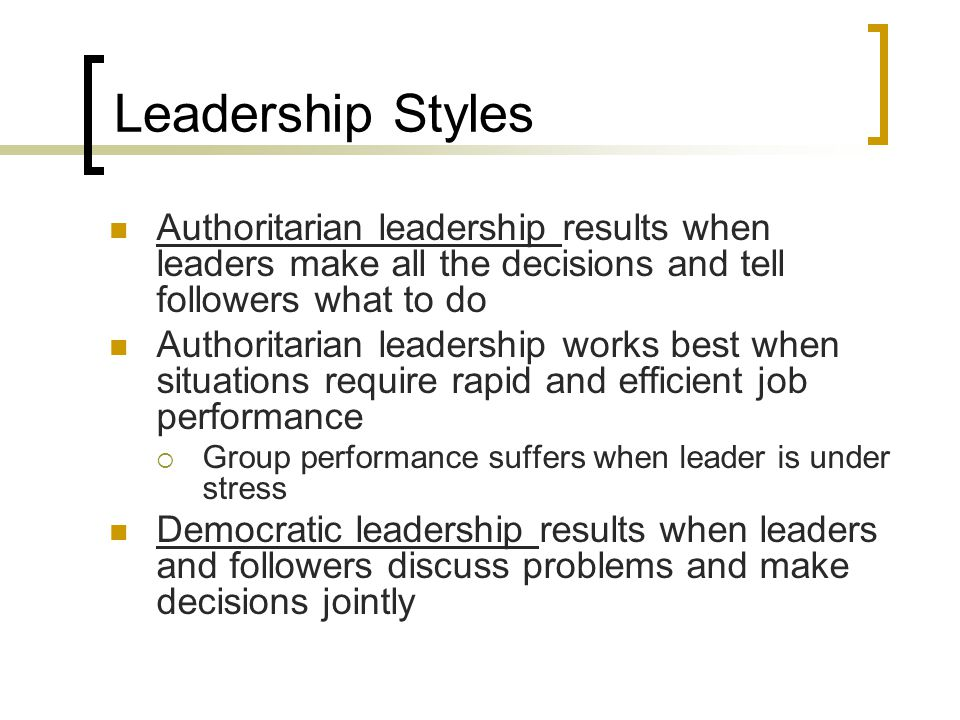 authoritarian leadership When you are in a coaching or teaching situation, do you practice more participative leadership or are you more inclined to take an authoritarian leadership approach complete this quick, ten question leadership style questionnaire to learn your natural approach at the end of the quiz, find out more about.