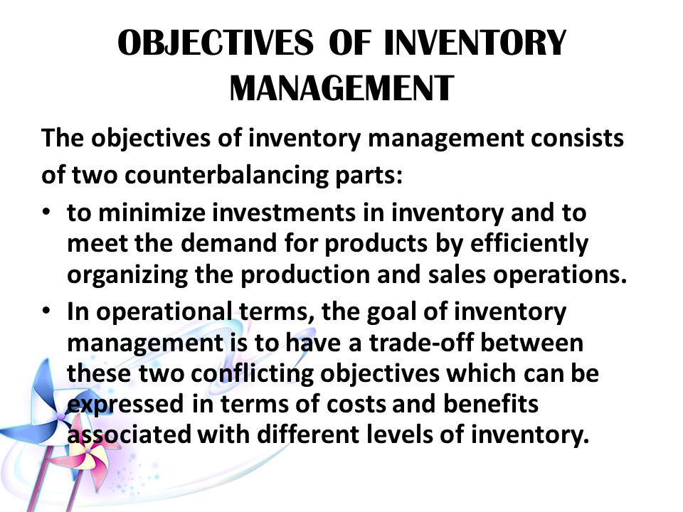 research questions on inventory Inventory management inventory management tries to optimize the ordering of stocks and safety stocks along the supply chain, aiming to minimize holding and backorder.