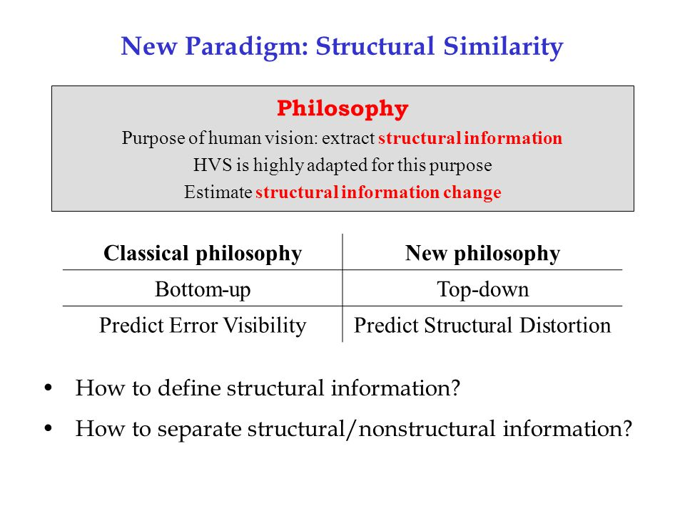 New Paradigm: Structural Similarity