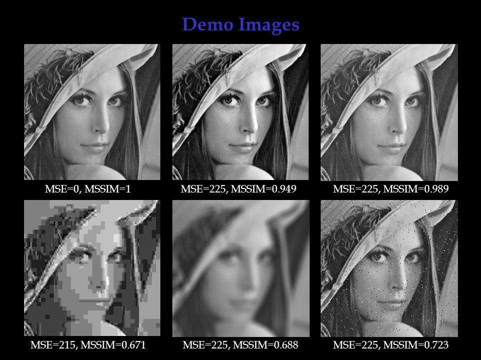 Demo Images MSE=0, MSSIM=1 MSE=225, MSSIM=0.949 MSE=225, MSSIM=0.989